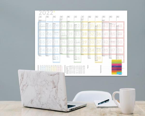 Wandplaner Colour 2022, DIN A1, gefaltet, inkl. Sticker