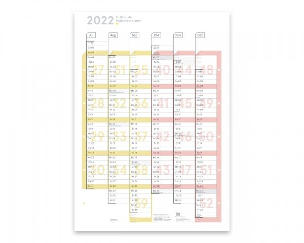Wandplaner A2h 2. Halbjahr 2022, abwischbar