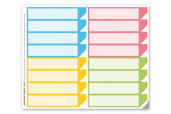 weekview Labels colour - farbig sortiert | repositionierbar, mit der praktischen Lasche!