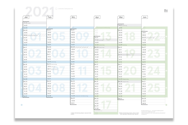 Tafelplaner 2021, A4, gefaltet | incl. Sticker S