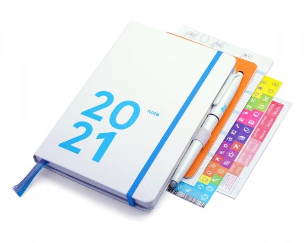 compact note Premium 2021 | white edition | mit Froschtasche, Stiftschlaufe, FriXion, Griffregister