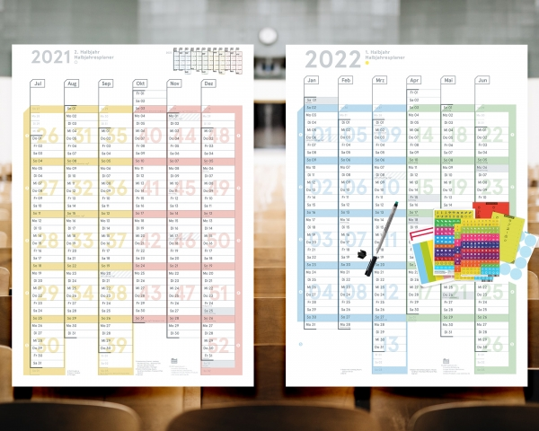 Schuljahresplaner 2021/22 Plus, DIN A1, abwischbar (Jul 2021 – Jun 2022 )
