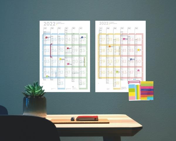 Wandplaner 2022, DIN A1 (2x A2h Halbjahresplaner), abwischbar