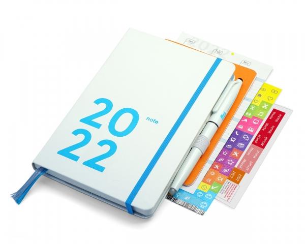 compact note Premium 2022   white edition   mit Froschtasche, Stiftschlaufe, FriXion, Griffregister