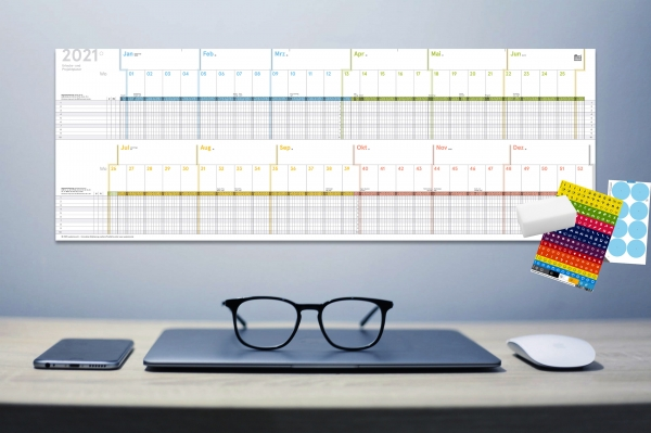 Urlaubs- und Projektplaner 2021, A4, abwischbar, 30 x 84 cm, für 10 Personen