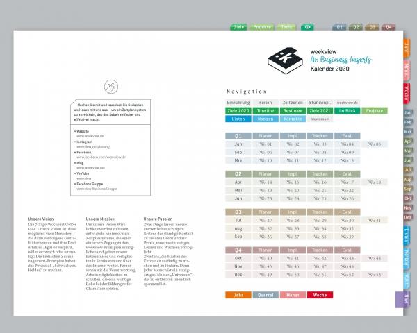 Digital Planner | Business-Einlagen A5 2020 | mit Navigation