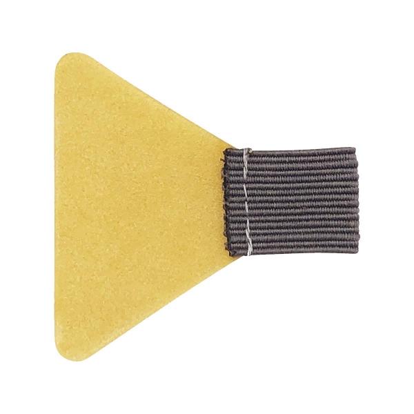 Stiftschlaufe, mit Schlaufe aus Flachgummi, Klebefläche trapezförmig, selbstklebend, grau