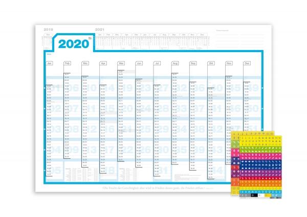 A1-Wandplaner 2020, Lieferung gefaltet, inkl. Sticker