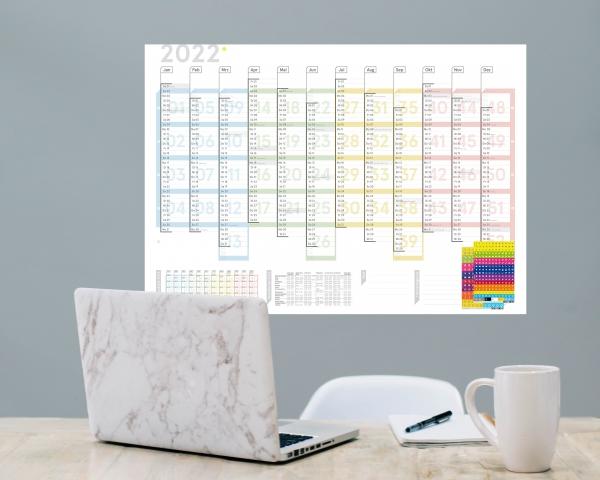 Wandplaner Colour 2022, DIN A1, Lieferung gefaltet, inkl. Sticker