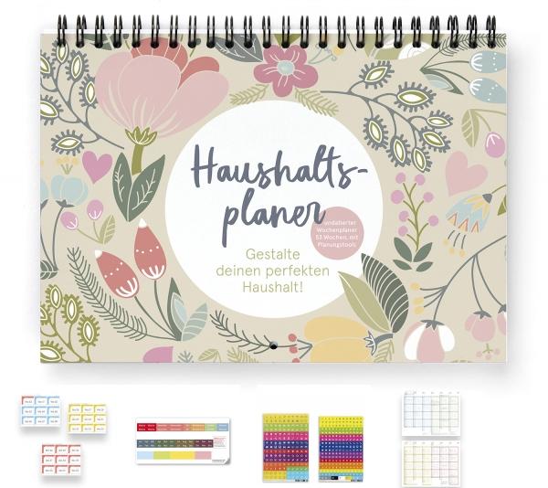 Haushaltsplaner | PLUS | mit Wochenaufkleber 2021, Griffregister, 366 Sticker und Tafelkalender