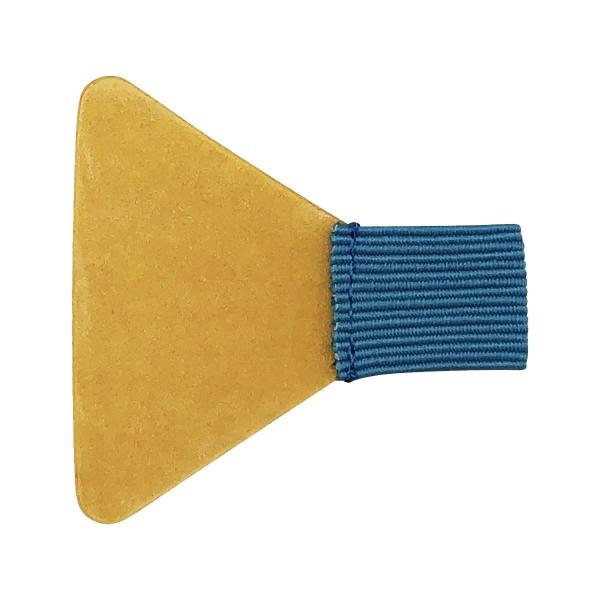 Stiftschlaufe, mit Schlaufe aus Flachgummi, Klebefläche trapezförmig, selbstklebend, türkis