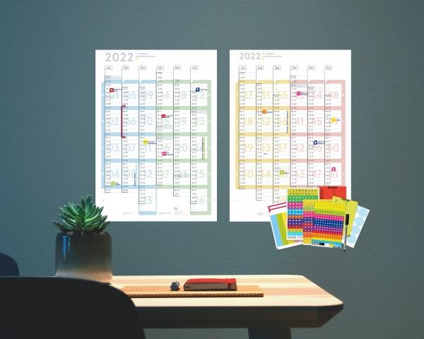 Wandplaner Colour 2022, DIN A1 (2x A2h Halbjahresplaner), abwischbar