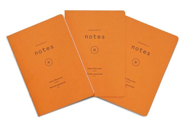 3x weekdori notes A6 aus Gmund Papier gefertigt (geeignet für Traveler's notebooks und Dori-Systeme)