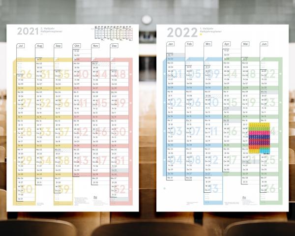 Schuljahresplaner 2021/22, DIN A1, Lieferung gefaltet (Jul 2021 – Jun 2022)