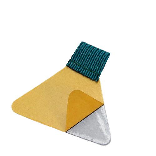 Stiftschlaufe, mit Schlaufe aus Flachgummi, Klebefläche trapezförmig, selbstklebend, petrol