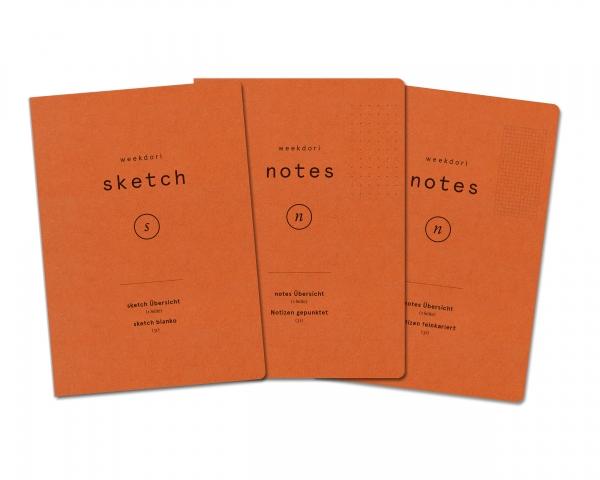 weekdori notes A5-Set 2 – dotted, sketch, feinkariert