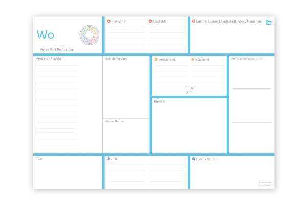 weekPad Reflexion | DIN A4 Block (29,4 x 21 cm)