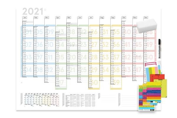 Wandplaner Colour 2021, DIN A1, abwischbar