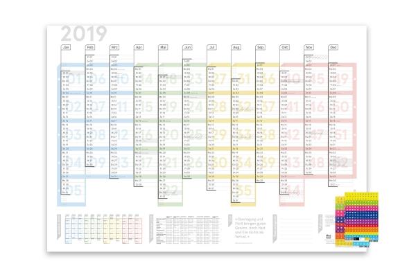 Wandplaner Colour 2019, DIN A2, übersichtliche Wochenstruktur (nach ISO 8601), Lieferung gefaltet