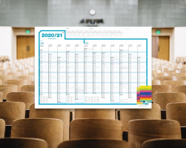 Schuljahresplaner 2020/21, DIN A1, Lieferung gefaltet