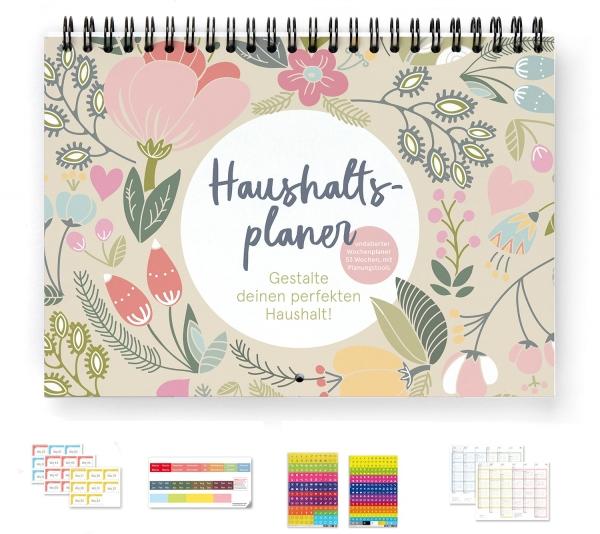 Haushaltsplaner | PLUS | mit Wochenaufkleber 2022, Griffregister, 366 Sticker und Tafelkalender