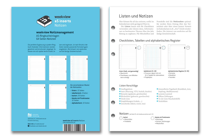 liniert Notizpapier blau Filofax Einlage A5