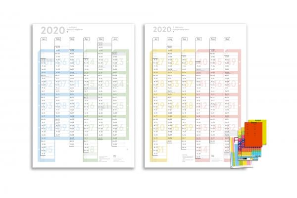 Halbjahres Wandplaner 2020 A1, (2 x A2h), Colour, abwischbar