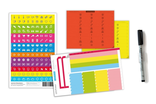 weekview A1-Label-Set | Zubehör zu den A1-Wandplanern abwischbar: A1-Labels, A1-Neonlabels, Sticker