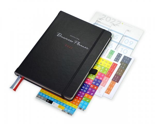 Business Planner 2022 Plus | Mit Froschtasche, Stiftschlaufe, Griffregister, Tafelplaner