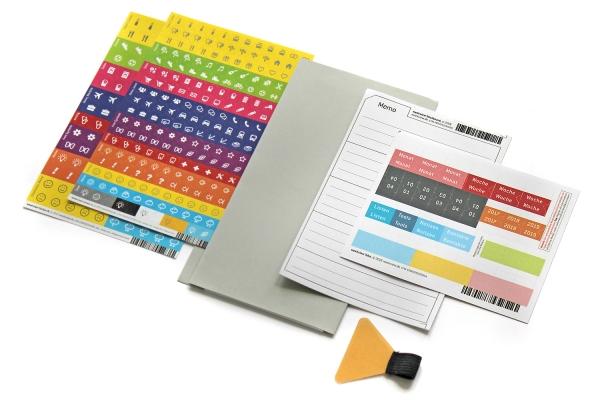 A5 Nachrüst-Set - Froschtasche, Stiftschlaufe, Griffregister und Stickboard