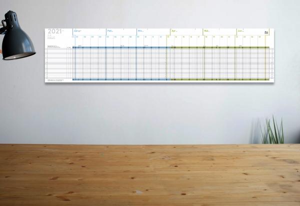 A5 weekview Projekt- und Urlaubsplaner 2021, A5-Leporello, 20 x 84 cm, für 20 Personen