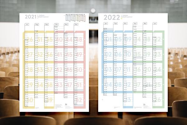 Schuljahresplaner 2021/22, DIN A1, Lieferung gefaltet