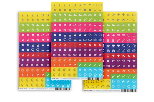 weekview Sticker M, 3 x 150 Organizer-Aufkleber 9 mm