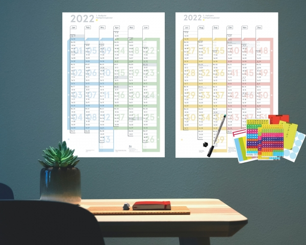 Wandplaner 2022 Plus, DIN A1 (2x A2h Halbjahresplaner), abwischbar
