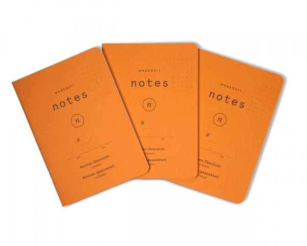 3x weekdori notes 2.0 A6 aus Gmund Papier gefertigt, geeignet für Traveler's notebooks und Dori-Syst
