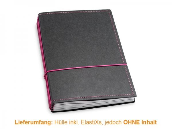 A5 HÜLLE 4ER TEXON SCHWARZ/MAGENTA INKL. ELASTIXS