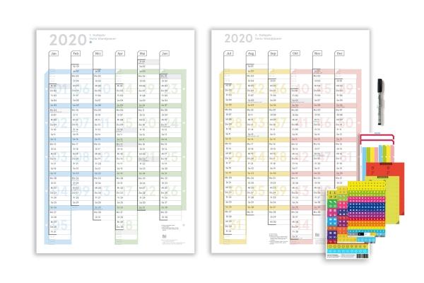 Halbjahres Wandplaner 2020 A2, (2 x A3h), Colour, abwischbar matt
